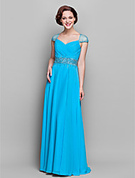cheap -Sheath / Column V Neck Floor Length Chiffon Dress with Beading / Criss Cross / Ruched by LAN TING BRIDE®