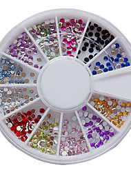 12 colori 2 millimetri Nail Art Acrylic Rhinestones della decorazione Nail Art
