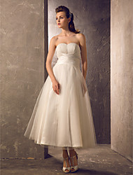 cheap -A-Line Strapless Tea Length Taffeta / Tulle Made-To-Measure Wedding Dresses with Draping / Ruched / Criss-Cross by LAN TING BRIDE® / Little White Dress