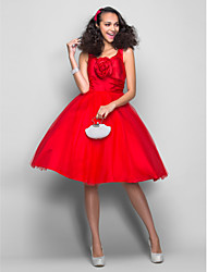 Ball Gown V-neck Knee Length Satin Tulle Homecoming Prom Dress with Flower(s) Ruching by TS Couture®