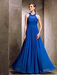 cheap -A-Line Jewel Neck Floor Length Crepe Bridesmaid Dress with Draping / Criss Cross by TS Couture® / Prom / Formal Evening