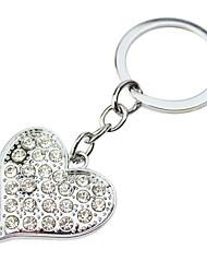 Regalo personalizzato 4 pezzi a forma di cuore Incisore Keycahin con strass