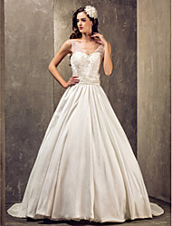 cheap -A-line Princess V-neck Sweep/Brush Train Taffeta And Lace Wedding Dress With Lace (551583)