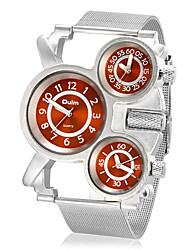 Herren Militäruhr Armbanduhr Drei-Zeit-Zonen Quartz Edelstahl Band Silber