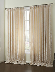 cheap -Rod Pocket Grommet Top Tab Top Double Pleat Two Panels Curtain Modern, Jacquard Leaf Living Room Polyester Material Curtains Drapes Home