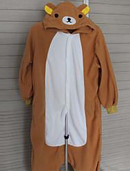 baratos -Pijamas Kigurumi Urso Pijamas Macacão Ocasiões Especiais Lã Polar Cosplay Para Adulto Pijamas Animais desenho animado Dia das Bruxas