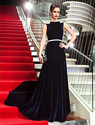 A-Line Scoop Neck Sweep / Brush Train Velvet Formal Evening Military Ball Dress with Beading by TS Couture®