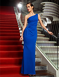 Sheath / Column One Shoulder Ankle Length Jersey Formal Evening Military Ball Dress with Beading by TS Couture®