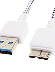 billiga -USB 3.0 till Micro USB 3.0 M / M kabel Nät-pläterad Vit för Samsung Note 3 (1M)
