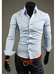 LEEBIN   Men's Slim Solid3 Button Collar Long Sleeve Shirt(Light Blue)