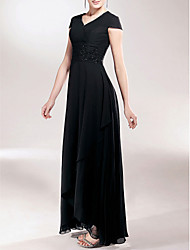 cheap -Sheath / Column V Neck Asymmetrical Chiffon Mother of the Bride Dress with Beading / Appliques / Ruched by LAN TING BRIDE®