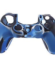 cheap -Silicone Skin Case and 2 Blue Thumb Stick Grips for PS4 (Navy Blue)