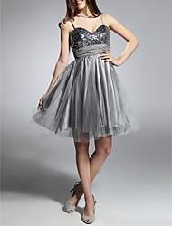 A-Line Princess Spaghetti Straps Sweetheart Knee Length Taffeta Cocktail Dress with draping by TS Couture®