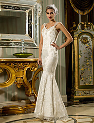 cheap -Mermaid / Trumpet Queen Anne Floor Length Lace / Stretch Satin Made-To-Measure Wedding Dresses with Beading by LAN TING BRIDE®