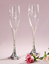 cheap -Pesonalized Floral Engraved Design Stem Toasting Flutes Wedding Reception