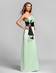 cheap -A-Line One Shoulder Floor Length Satin Bridesmaid Dress with Ruched / Crystal Brooch by LAN TING BRIDE®