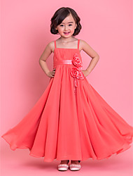 cheap -A-Line Tea Length Flower Girl Dress - Chiffon Sleeveless Spaghetti Strap with Bow(s) / Lace / Sash / Ribbon by LAN TING BRIDE® / Spring / Summer / Fall