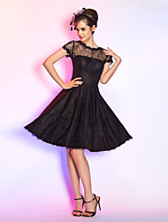 cheap -A-Line / Fit & Flare Illusion Neck Knee Length Lace Little Black Dress Cocktail Party / Prom Dress with Buttons / Draping by TS Couture®