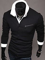 cheap -gezi Men's Personal Zipper Knit Long Sleeve Shirt(Random Button Color)