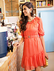 TS Ruffle Detail Belted Dress