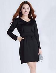 abordables -Ailuoer Ol mince mince à manches longues basant robe de dames (noir)