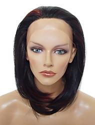 Pizzo anteriore alla moda di lunghezza media parrucca sintetica resistente al calore (colore misto)