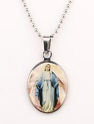 Personalizzato regalo d'argento Maria disegno inciso Collana