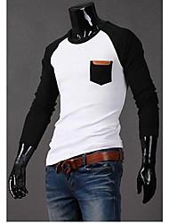 T-shirt Uomo Casual A quadri Misto cotone Manica lunga-Nero / Blu / Grigio