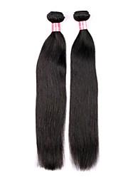 Недорогие -14 16 дюймов Великий 5А бразильский девственной природы человеческих волос Черный цвет Прямые Наращивание волос