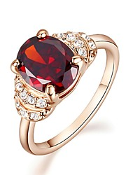 Simulated Diamond Ruby Engagement Ring