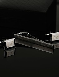 Gift Groomsman Personalized Men's Gift Tie Clip and Classic Cufflinks Sets