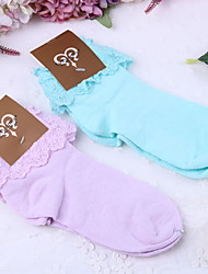 cheap -Socks / Long Stockings Sweet Lolita Dress Lolita Women's Blue Purple Lolita Accessories Solid Socks Lace Polyester