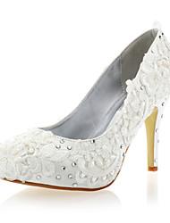 Mulheres Sapatos Cetim Primavera Verão Salto Agulha Pedrarias para Casamento Festas & Noite Branco