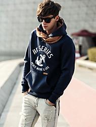 Uomo Shishi Dark Blue Fashion spessa manica lunga con cappuccio,