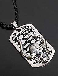 Недорогие -Муж. Череп форма Ожерелья с подвесками Кожа Серебрянное покрытие Ожерелья с подвесками Для вечеринок Halloween