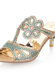 Women's Shoes Glitter Summer Fall Kitten Heel Rhinestone Hollow-out For Party & Evening Red Silver Gold