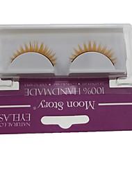 Недорогие -1 пара Pro Высокое качество ручной работы синтетическое волокно волос желтый цвет Толстая Длинные Стиль Накладные ресницы