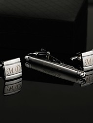 Gift Groomsman Personalized Classic Cufflinks and Tie Clip Sets with Gift Box