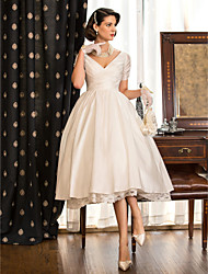 cheap -A-Line Princess V Neck Tea Length Taffeta Custom Wedding Dresses with Lace Criss Cross by LAN TING BRIDE®