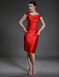 abordables -Fourreau / Colonne Mi-long Satin Elastique Robe de Mère de Mariée  - Pan drapé par LAN TING BRIDE®