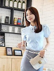Women's Formal Simple Summer Shirt,Solid Shirt Collar Short Sleeve Blue / White Cotton Thin