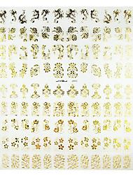 1PCS Blandet blomstermønster Golden Metal Nail Art Stickers