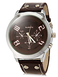 cheap -Men's Quartz Military Watch Hot Sale PU Band Charm Dress Watch Black White Red Brown