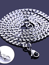 cheap -Personalized Gift Silver Stainless Steel Jewelry  Engraved Chain Necklace 0.5cm Width