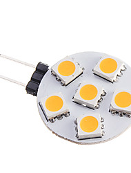abordables -0.5W 75-85 lm G4 Spot LED 6 diodes électroluminescentes SMD 5050 Blanc Chaud DC 12V