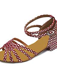 Femininas de couro Bolinhas Chunky calcanhar sapatos de dança de salão de baile latino / Sandálias