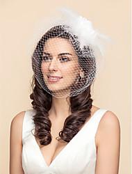 One-tier Wedding Veil Blusher Veils Birdcage Veils With Feather Satin Flower Tulle A-line, Ball Gown, Princess, Sheath/ Column, Trumpet/