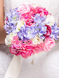 Bouquet sposa Tondo Rose Bouquet Matrimonio Seta Multicolore 26cm