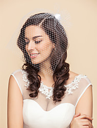 cheap -Wedding Veil One-tier Blusher Veils Birdcage Veils 15.75 in (40cm) Tulle Satin White BlackA-line, Ball Gown, Princess, Sheath/ Column,
