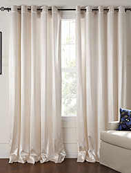 cheap -Rod Pocket Grommet Top Tab Top Double Pleat Two Panels Curtain Modern , Embossed Living Room Polyester Material Curtains Drapes Home
